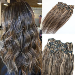 clip extensions mixed color UK - 7pieces 120g Piano Color Human Hair Extensions Clip in Ombre Two Tone 2# Brown to 27# Blonde Highlights Wholesale