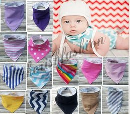 Foulards Filles Violet Pas Cher-Bib Drool Bib Bandana Baby Blue Marine Hickory Stripes Violet Denim massif Écharpe Burp Cloth Newborn Bib Garçon Fille Super Soft Cotton M14-B