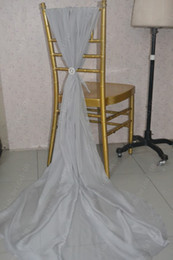 cheap white wedding chair covers UK - 2016 Custom Made Silver Chiffon Flower Chair Covers Romantic Beautiful Crystals Chair Sashes Cheap Wedding Chair Decorations 05
