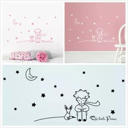 fairy stickers decals Canada - Stars Moon The Little Prince Fox Graphic Wall Stickers Children Fairy Tale Wall Decals for Kids Room Nursey Room Decor Poster