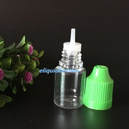 Discount 5ml ejuice bottles - 5ml Ecig Oil Clear Bottle PET Empty Dropper Bottles 5 ml with Child Proof Caps and Long Tips For Eliquid Ejuice Sample C