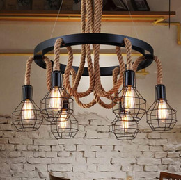 Luxury Retro led rope Industrial pendant Lights edison Vintage Restaurant Living bar Light e27 American Style nordic fixtures lighting : industrial bedroom lighting - azcodes.com