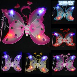Les Enfants Ailes Danse Pas Cher-LED Child Fairy Set Wings / Wand / Headband Princess Fairy Butterfly Wing pour enfants Dance Dress Costumes Performing LP3127
