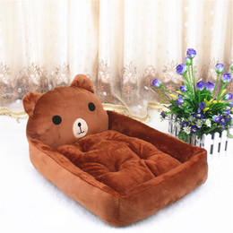 large cute teddy bears 2019 - Cute Animal Bear Brown Cartoon Large Dog Beds Mats Teddy Pet Dogs Sofa Pet Cat Bed For Dogs Waterproof Blanket Cushion P