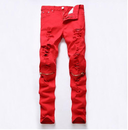 loose fit jeans for men 2019 - 2016 New Red Ripped Knee Hole Club Jeans Men Famous Brand Slim Fit Cut Destroyed Torn Jean Pants For Male Homme discount