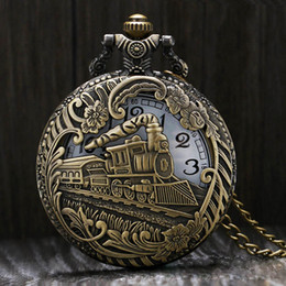 Discount training clock - Vintage Silver Charming Gold Train Carved Openable Hollow Steampunk Quartz Pocket Watch Men Women Necklace Pendant Clock