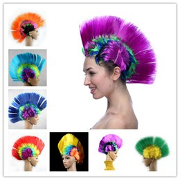 Discount hair fashions wigs - Multicolor Women Men Mohawk Hair Wigs Fashion Football Soccer Fans Punk Wig Performance Cosplay Party Wigs for Halloween