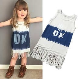 $enCountryForm.capitalKeyWord Canada - 2016 Girls fringe vest dress Kids love heart-shaped letter print sundress Girls blue pink fashion dress Size80-120