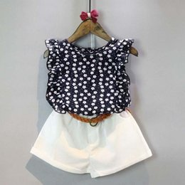Barato Polka Dot T Shirts Kids-Summer Toddler Kids Baby Girls Clothes Sets Floral Chiffon Polka Dot Sleeveless T-shirt Tops + Shorts Outra L16