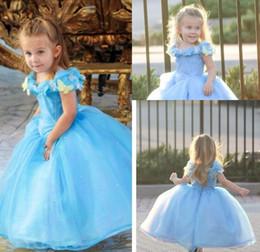 $enCountryForm.capitalKeyWord Canada - Hot Sale Cap Sleeves Blue Movie Cinderella Dresses 2019 Cosplay Costume Ball Gown Flower Girls Dresses Princess Girls Pageant Dresses