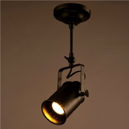 Vintage Track Switch NZ - Loft Vintage LED Track Lights Wrought Iron Ceiling Lamps Clothing Bar Spotlight Industrial American Style Rod Spot Lighting