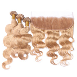 $enCountryForm.capitalKeyWord NZ - 7A Cheap Brazilian Virgin Hair Bundles Body Wave With Ear to Ear 13x4 Lace Frontal Closure #27 Bleached Knots With Baby Hair