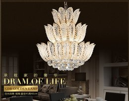 Discount modern glasses shop - Newly Lotus Flower Gold Crystal Pendant Chandelier For Dining Room Bedroom Hotel Shop ;Crystal Modern Chandelier Free Sh