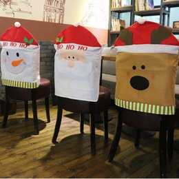 $enCountryForm.capitalKeyWord Canada - Christmas Chair Covers Santa Claus Snowman Elk Hat Chair Cap Christmas Decorations Dinner Decor Chair Sets Gift 50*60cm DHL Free Shipping