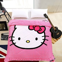 $enCountryForm.capitalKeyWord Canada - Pink Plaid Cat Thin Quilt Home Textile Summer Quilts for Kids Gift Washable Comforter Cartoon Blanket, Not Included Pillowcase