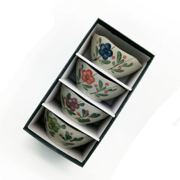 $enCountryForm.capitalKeyWord NZ - Vintage Square Japanese Bowl Gift Set 4 Pieces 5 inch Antique Porcelain Rice Soup Bowls with Hand painted Floral and Leaves