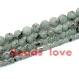 "$enCountryForm.capitalKeyWord UK - Natural Green spot Stone Loose Spacer Beads 4 6 8 10mm Strand 15"" DIY Bracelet Necklace Gemstone Jewelry Making-F00258 jewelry making"