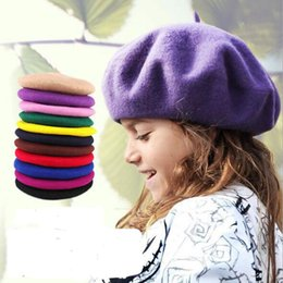 73b7d652c8d Kid s Berets Wool Hat Girls Boys Cute Beret Caps Good Quality Children s  Round Hats The Painter Cap