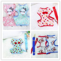 Wholesale Frees shipping pet dog puppy harness with leash lead cute strawberry rabbit England flag mixed styles