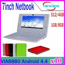 Laptop Hdmi Android Canada - Cheap 7inch Mini laptop Android notebook VIA8880 Dual Core Android 4.4 Wifi Netbook Laptop 512MB 4GB 1.5GHz+Webcam HDMI 10pcs ZY-BJ-1