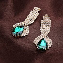 Barato Balanço Verde Da Mulher-Europa Mais novo estilo Crystal Water Drop Earrings Sparkly Women Earring Studs Crystal Crystal Swing Earrings Prom Evening Celebrity Accessories