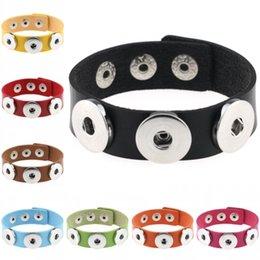 Sports Buttons Canada - Pack Of 30pcs PU Leather Bracelet Three Snap Button Charms Bracelet Wrist Band 18mm Snap Buttons 21cm Unisex D813E