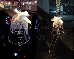 Tin car ornamenT online shopping - Car Hanging Crystal Bell Chimes Pendant Jewelry Ornaments Jushi Crystal Campanula Decorations Interior Accessories Christmas Gift