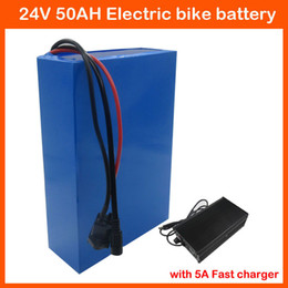 24v charger 5a Canada - 24V Ebike battery 1000W 24V Lithium battery 24V 50AH Electric Bike battery 3.7V 5000MAH 26650 Cell with 50A BMS 29.4V 5A Charger
