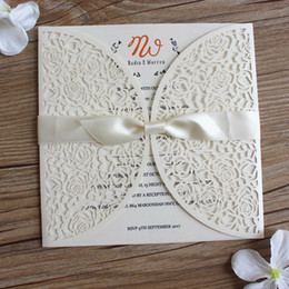 White Rose Card Wedding NZ - White rose wedding inviations with ribbon flower laser cutting wedding cards engagement anniversary party paper cards supply