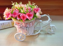 Discount baskets flowers - Handmade Rattan Vase Basket Bike Artificial Flower Pack Wedding Decoration Double color flower decoration 1 Piece