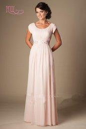 women occasion dress sleeve 2019 - Light Pink Long Bridesmaid Dresses Cheap Short Sleeves Modest Formal Wedding Guest Dress For Bridesmaid Women Special Oc