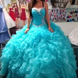 Robes De Soirée À La Mode Pas Cher-Real Image Princesse Quinceanera Robes Sweetheart Beads Pleats Ball Gown Organza Sweet 15 Light Blue Prom Party Robes de soirée Custom Made