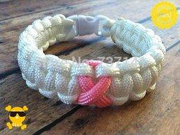 Großhandel Freies Verschiffen MOQ 100pcs Paracord Armband-Brustkrebs Bewusstsein-weißes bedeutungsvolles Geschenk