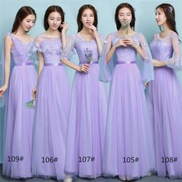 Livraison Gratuite Femmes A-ligne Longue Scoop Demi Manches Lavender Party Prom Plage De Mariage Robes De Demoiselle D'honneur avec Dentelle Différents Styles Moins De 50 en Solde