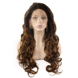 kanekalon lace wigs Canada - SF5 Front Lace Wig Ombre Dark Root Brown Blond Wig, Ombre Synthetic Wavy Wig Stylish Kanekalon Hair Wig Natural Hairline