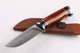 High End Damascus Folding Knives Canada - New High End Pure hand made Damascus survival straight hunting knife Outdoor survival fixed blade knives with leather sheath