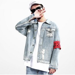 Barato Chaqueta Denim Hombre-Atacado- Nova Marca 424 FourTwoFour Euro-America High Street Destruir Lavou Distressed Denim Jacket Men Tide Loose Jacket chaqueta hombre