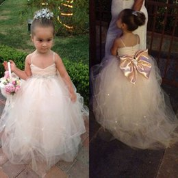 $enCountryForm.capitalKeyWord Canada - Pageant Dresses For Girls 2016 Spaghetti White Ivory Champagne Kids Ball Gowns Wedding Dress Sash Beading Belt Flower Girl Dresses EN5126