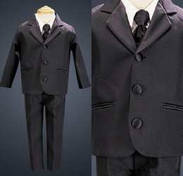 hot man wear tuxedo NZ - Hot Sale 2016 Little Men Black Three Buttons Suits For Boy Wedding Party Tuxedos (Jacket+Bow+Pants) boys wedding tuxedos