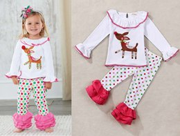 Barato Polka Dot T Shirts Kids-Kids New Year Xmas Deer Flare t shirts Polka Dot ruffles calças inferiores sz 80-120 Para 2T-7T Girls Christmas Set
