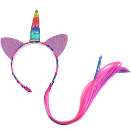 princess braiding hair Australia - Kids Girls Princess Braid Wig Teeth Hairbands Hair Accessories 3 Pieces  Lot Ponytail Unicorn Headbands with Glitter Ears