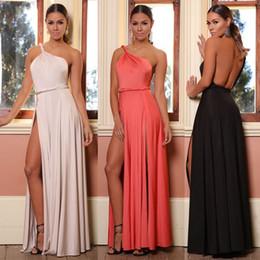cc5262f1b Nuevas Damas Un Hombro Maxi Vestido Floor Length Split Prom Dress Petite  Playa Bodas Fiesta Vestidos De Verano Vestido De Cóctel HZ029