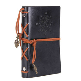 $enCountryForm.capitalKeyWord NZ - Leather Writing Journal Notebook 7 Inches Classic Spiral Bound Notebook Refillable Diary Sketchbook for Girls and Boys Black