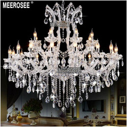 China Large 24 Lights Massive White Chandeliers Crystal Clear Vintage chrystal chandelier Hotel Lighting Pendelleuchte lamp for Home decor cheap chrystal lights suppliers