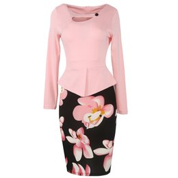 Trabajo Chic Baratos-La más nueva Chic Print Flora Casual Work Patchwork Dresses Tallas grandes S-5XL Las mujeres Long Sleeve Fitted Elegant Bodycon Pencil Dresses