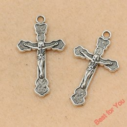 $enCountryForm.capitalKeyWord Canada - 50pcs Antique Silver Tone Cute Cross Crucifix Charms Pendants Jewelry Diy Jewelry Findings 34x19mm jewelry making