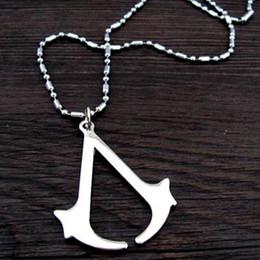 $enCountryForm.capitalKeyWord Canada - New ASSASSINS Assassin's Man's Double knife Pendant Necklace Silver W  Chain