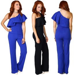 3cf7c0e2cc05c 2016 El más nuevo estilo de la venta caliente Ruffle One Shoulder Long  Pants trajes Sexy Formal OL Work mujeres mono del partido Monos largos  negro azul