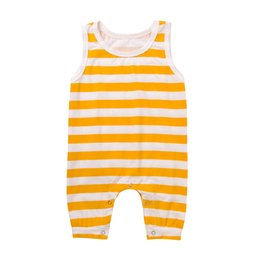 China Mikrdoo Summer Infant Baby Toddler Simple Striped Kids Boys Girls Romper Newborn Jumpsuit Cotton Sleeveless Playsuit Harem Trouser Long Pant cheap jumpsuits striped pants suppliers
