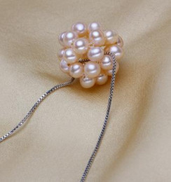 rice shaped beads Canada - Hot white pink purple Rice-shaped pearl beads natural pearl pendant necklace